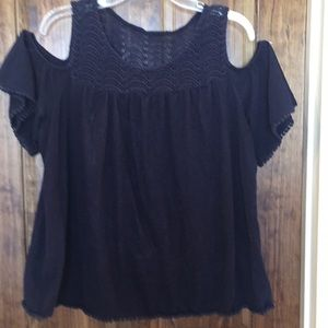 Crown and ivy navy cold shoulder top XL